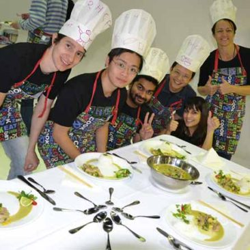 Team Building Cooking activities dishing up Thai Green Curries