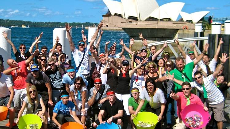 Amazing Race Team Play with Lego corporate team accomplishing Sydney Team Building Amazing Race Challenges by the Opera House in The Rocks