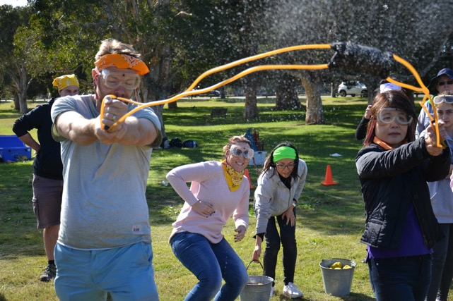 Survivor events and Team Building activities water exploding bomb with Sling Shot Shooting targets - legal Copyright Thrill events Australia