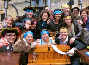 Thrill treasure hunt team building groups steals the pirate treasure chest out the front of the Rocks, Sydney pubs