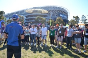 Thrill staff facilitate team builing games at Sydney Olympic Park at the ANZ Stadium