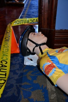 CSI Murder mystery team building group activities with crash test cyclist dummy sustained head injury