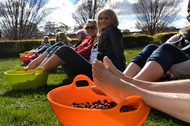 Grape stomping wine tasting games as team building activities in the Hunter Valley