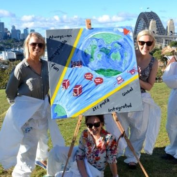 Corporate teams enjoy painting artistic team building activities in Sydney in view of the Harbour Bridge
