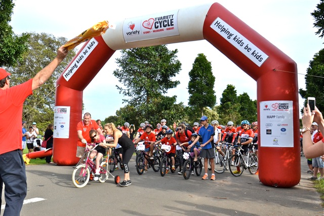 Charity Variety Cycle with Thrill build a bike for Kids Sydney start line commece their ride to Melbourne for 100 people