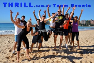 Best Group activity Beach Games staff jumping for fun Team Building and Events on Manly, Bondi, Coogee Beaches and Gold Coast Beach at Surfers Paradise.