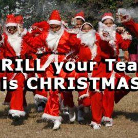 Santa Clauses enjoy christmas team building activities