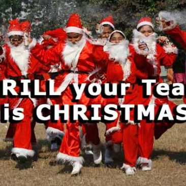 Santa Clauses enjoy christmas team building activities