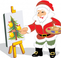 Creative team fun christmas team Arty Party and Pub painting activities with Santa artists