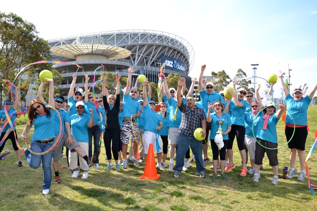 Mini Ol;ympics Games events at Sydney Olympic Park by Thrill for corpoprtate teams both ANZ and CBA