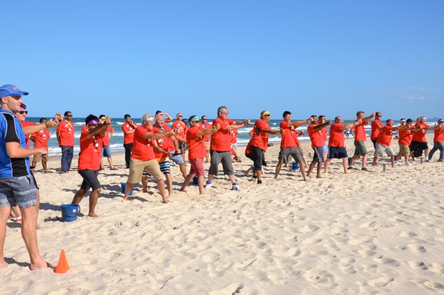 Sika flex corporate group beach games and activities on Gold Coast beaches Surfers Paradise. Firing thrilling sling shots at Targets