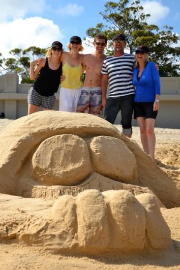 Sydney teams building darth vader sand sculpture on Balmoral Beach