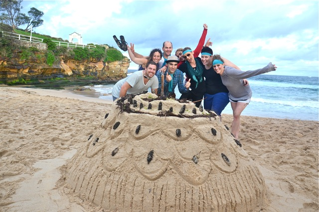 Sand Sculpting Wedding Cake Island with fun Thrill team building activities on Sydney's Coogee Beach with games