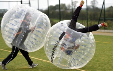 sydney bubble soccer bumper ball zorb girl team gets rolled over