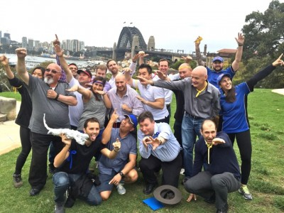 Transport NSW team building in The Rocks Sydney with harbour Bridge Climb in background.