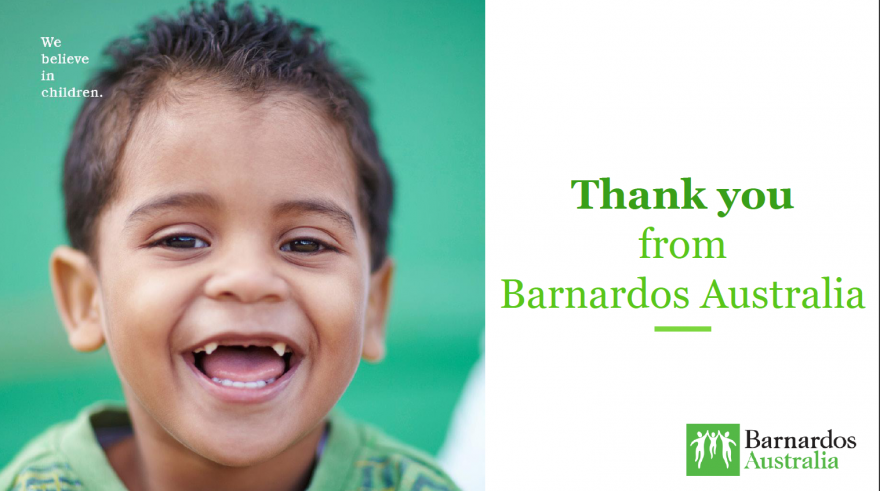 Barnardos thankyou to Thrill team building for kids charities