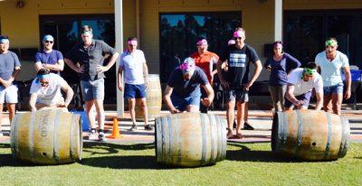 wine barrel rolling games and activities hunter valley thrills