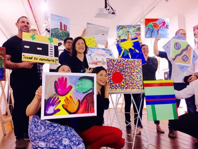 creative team building art activities for adults with painting at Galleries