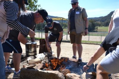 Survivor Team Building Challenge with Fire Building
