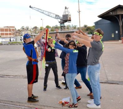 Brendan Morris Facilitating a hand cuffing challenge during a Cockatoo Island Treasure Hunt by Thrill