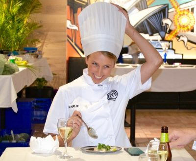 Karlie Verkerk celebrity master chef host with Thrill events cooking up a corpoarte storm surprise innovation mystery box cook challenge test to win