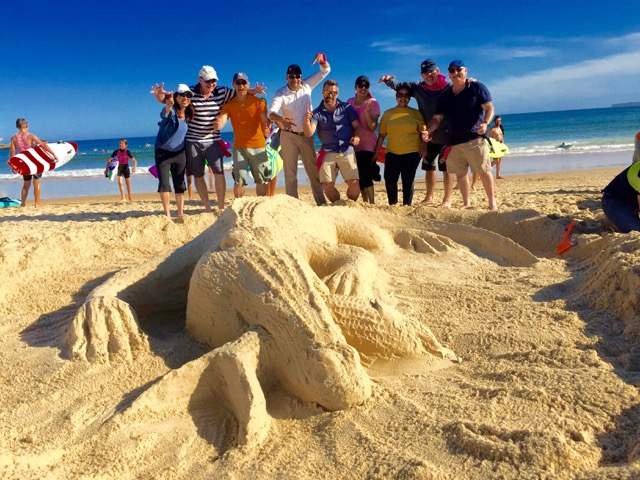 Crocodile sand sculpture on Bondi Beach Sydney's Thrill team events