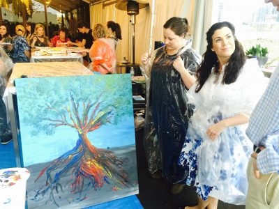Wild at Art Painting Party for Corporate Teams to Express themselves with Art Therapy and Raise Funds for worthwhile charities