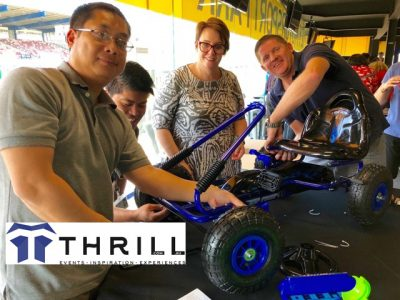Energy Teams building blue Billy Carts and Karts for Fun whilst at heart these are for Kids and Charity Groups that were donated to the Blacktown Salvos who distributed the karts to local kids and families
