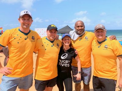 Michelle Chapman with Australian Rugby League greats Phil Waugh, Dean Munn and Loki Tuqiri on the Northern Beaches Sydney