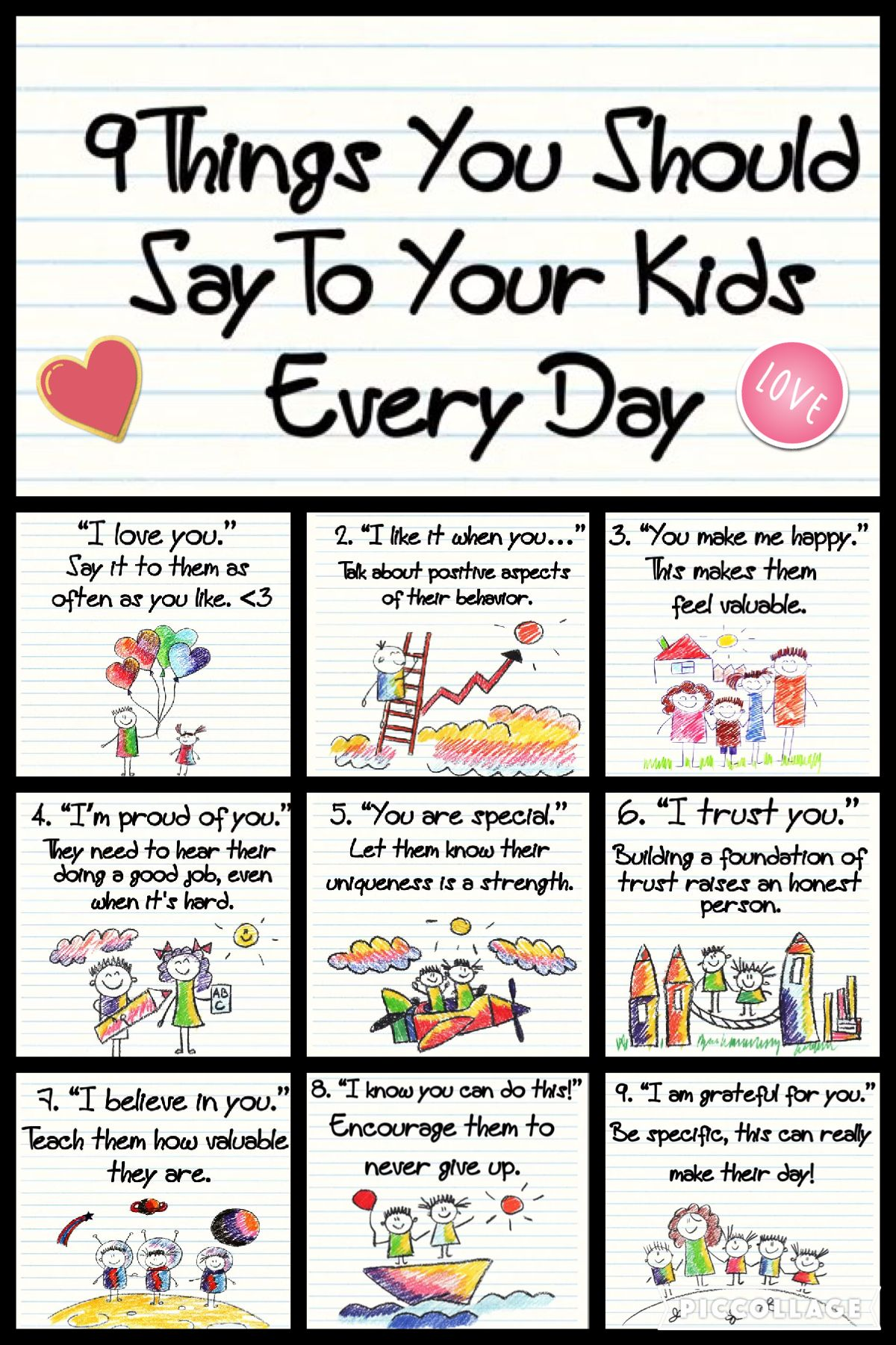 9 things you should say to your kids every day like i love you and im proud of you, you are special.