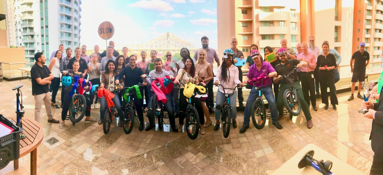 Briusbane and Gold Coast team Building Bikes at Conference break activities - here are 10 bmx bikes built by corporate groups for children charities overlooking Story Bridge Brisbane