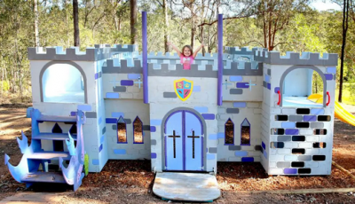 Castle cubby houses built by business and corporate group teams for safe homes and families experiencing domestic violence