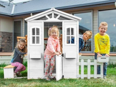 Family receiving their Thrill team building activity play cubby house in Sydney