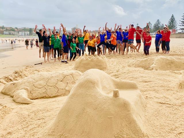Corona free Sydney team building activities and practices on Bondi Beach