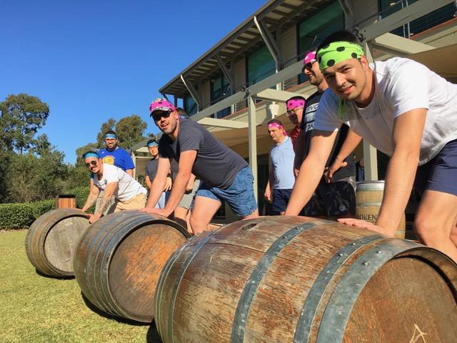 Hunter Valley Team Building Activities Wine Barrell Rolling Games